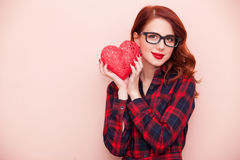 Caucasian girl with gift Royalty Free Stock Images