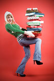 Caucasian girl with gifts Stock Photo
