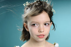 Caucasian girl with hair flying Royalty Free Stock Photography