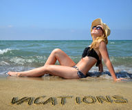 Caucasian girl with hat on the beach. Stock Photography