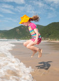 Caucasian girl jumpimg Stock Photo
