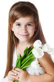 Caucasian Girl-Kid with Bunch of Flowers Royalty Free Stock Photos