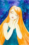 Caucasian girl with long red hair on the background of a beautiful starry sky. Sleeps standing with folded hands and putting them royalty free illustration