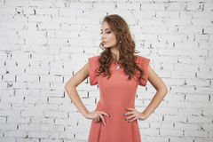 Caucasian Girl in luxurous pink dress Royalty Free Stock Image