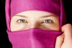 Caucasian girl muffled in a shawl Stock Photo