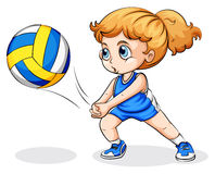 A Caucasian girl playing volleyball Stock Image