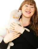 Caucasian Girl Playing With Puppy Royalty Free Stock Photo