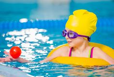 Caucasian Girl in the Pool stock images