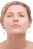 Caucasian girl with soft facial mask Royalty Free Stock Image