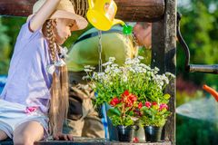 Girl Taking Care of Flowers Stock Image