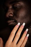 Caucasian Girl Touch The Face Of A Black Man Stock Image