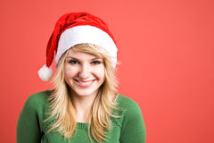 Caucasian girl wearing santa hat Royalty Free Stock Photos