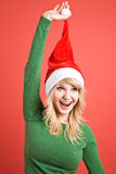 Caucasian girl wearing santa hat Stock Image