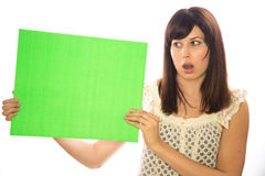 Caucasian girl woman holding message board Stock Photo