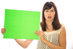 Caucasian girl woman holding message board Stock Photos