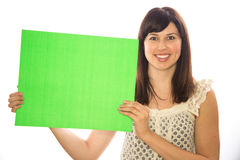 Caucasian girl woman holding message board Stock Images