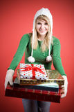 Caucasian girls with gifts Royalty Free Stock Image
