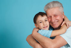 Caucasian grandfather with his grandson Royalty Free Stock Photo