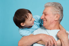 Caucasian grandfather with his grandson Royalty Free Stock Photos