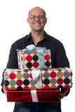 Caucasian guy gives a gift isolated on white Royalty Free Stock Image