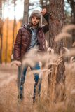 Caucasian guy rested his elbow on a tree in the autumn forest royalty free stock image