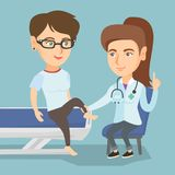 Caucasian gym doctor checking ankle of a patient. Caucasian gym doctor checking the ankle of a patient. Physio therapist examining the leg of sportswoman Stock Photography