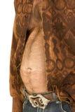 caucasian hårig manmitt för åldrig ölmage Fotografering för Bildbyråer