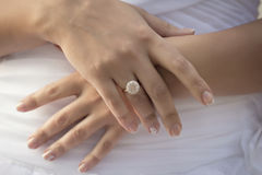 Caucasian  hands with wedding rings. Close-up photo of a caucasian  hands on their wedding day Royalty Free Stock Photo