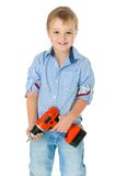Caucasian handsome little boy is holding a Stock Photography