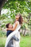Caucasian happy romantic young couple celebrating their marriage Royalty Free Stock Images