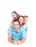 Caucasian happy smiling young family with two children Royalty Free Stock Image