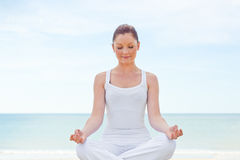 Caucasian healthy woman doing yoga Stock Photo