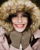 Caucasian High School Senior Close Up Smiling with Fur Lined Hat Stock Images