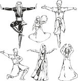 Caucasian highlander dancers in national costumes. Sketches of Caucasian highlander dancers in national costumes. Dancing men and women. Vector set of black and Stock Photos
