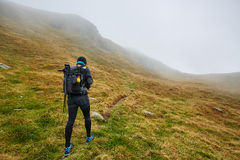 Caucasian hiker with backpack Stock Photography
