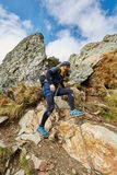 Caucasian hiker with backpack Royalty Free Stock Image