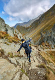 Caucasian hiker with backpack Stock Image