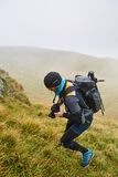 Caucasian hiker with backpack Royalty Free Stock Photo