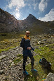Caucasian hiker with backpack Stock Images