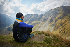 Caucasian hiker with backpack Royalty Free Stock Photography