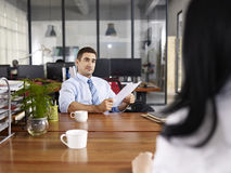 Caucasian hr manager conducting an interview Royalty Free Stock Image