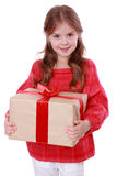 Caucasian kid holding gift box Stock Images