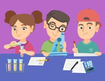 Caucasian kids making chemical experiment. Caucasian kids making chemical experiment in laboratory with reagents and microscope. Children conducting chemistry royalty free illustration