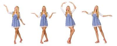 Caucasian kobieta w szkockiej kraty błękita sukni odizolowywającej na bielu Zdjęcia Stock