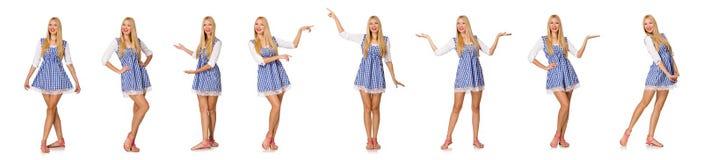 Caucasian kobieta w szkockiej kraty błękita sukni odizolowywającej na bielu Fotografia Royalty Free