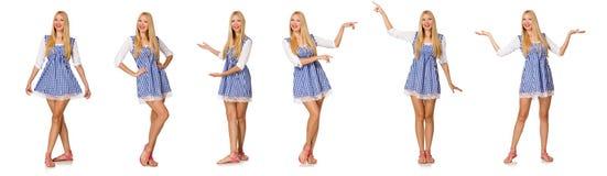 Caucasian kobieta w szkockiej kraty błękita sukni odizolowywającej na bielu Obrazy Stock