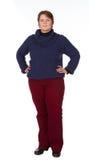 Caucasian kvinna i blått och rött Arkivfoton