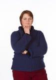 Caucasian kvinna i blått och rött Royaltyfri Bild