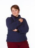 Caucasian kvinna i blått och rött Arkivbilder