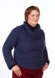 Caucasian kvinna i blått och rött Royaltyfri Foto
